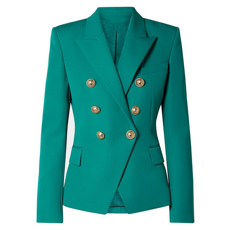 HIGH QUALITY New Fashion 2020 Designer Blazer Jacket Women's Classic Double Breasted Metal Lion Buttons Slim Fitting Blazer