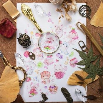 Pegatinas de papel Washi para álbum de recortes, cinta adhesiva para diario de balas, cintas Washi, gatos y dulces