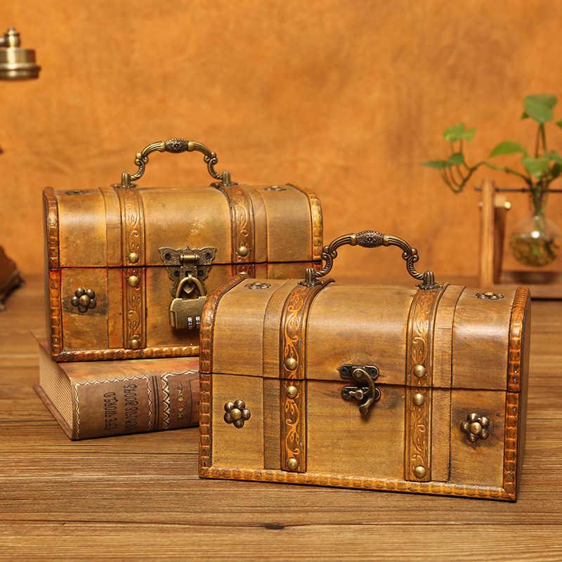 Vintage กล่องไม้กล่องเครื่องประดับจัดเก็บกล่องไม้กล่อง Treasure Chest Handcrafts Figurines อุปกรณ์ตกแต่งบ้าน