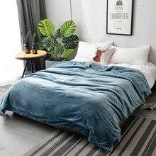 200cm Super Soft Double Flannel Lambskin Blanket Warm Comfortable Solid Color Coral Velvet Carpet Sofa Bedding Home Textile