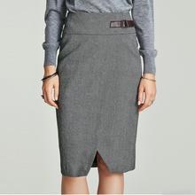 Хавва осень и зима новая высокая талия шаг юбка Тонкий пакет бедра Сплит юбка Q4054
