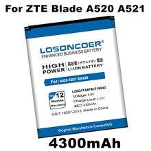 Losoncoer 4300 mah li3824t44p4h716043 bateria para zte lâmina a520 a521 ba520 bateria