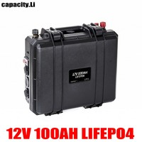 12V lifepo4 rechargeable battery 100ah 200AH phosphoric acid RV battery with BMS and cigarette lighter for RV and inverter