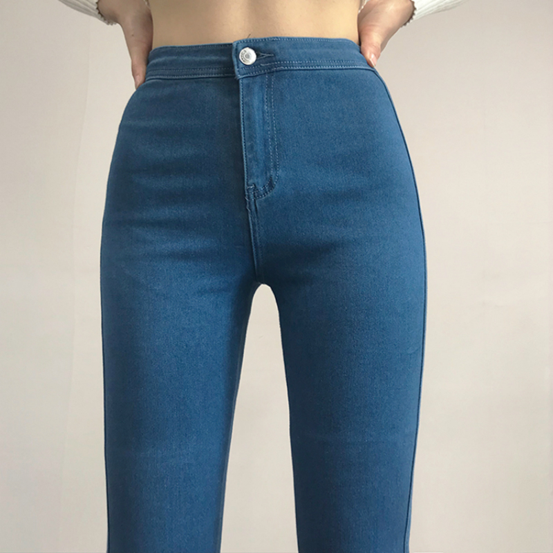 Women High Waist Hips Tight Jeans Spring Autumn Skinny Jeans Woman Elastic Streetwear Denim Pants Female Pencil Jeans Trousers