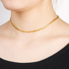 Skyrim Fashion Figaro Chain Necklace Women Stainless Steel Gold Color Choker Necklaces Party Jewelry Gift for Lover Friends