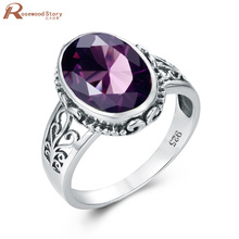 Purple Amethyst Pure Silver Ring For Women Oval Boho Jewellery Prong Setting Eng