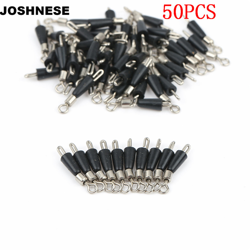 JOSHNESE 50pcs Fishing Barrel Swivel Pin Connector Solid Rings Swivel Contector with Interlock Snap Fishing Tackle