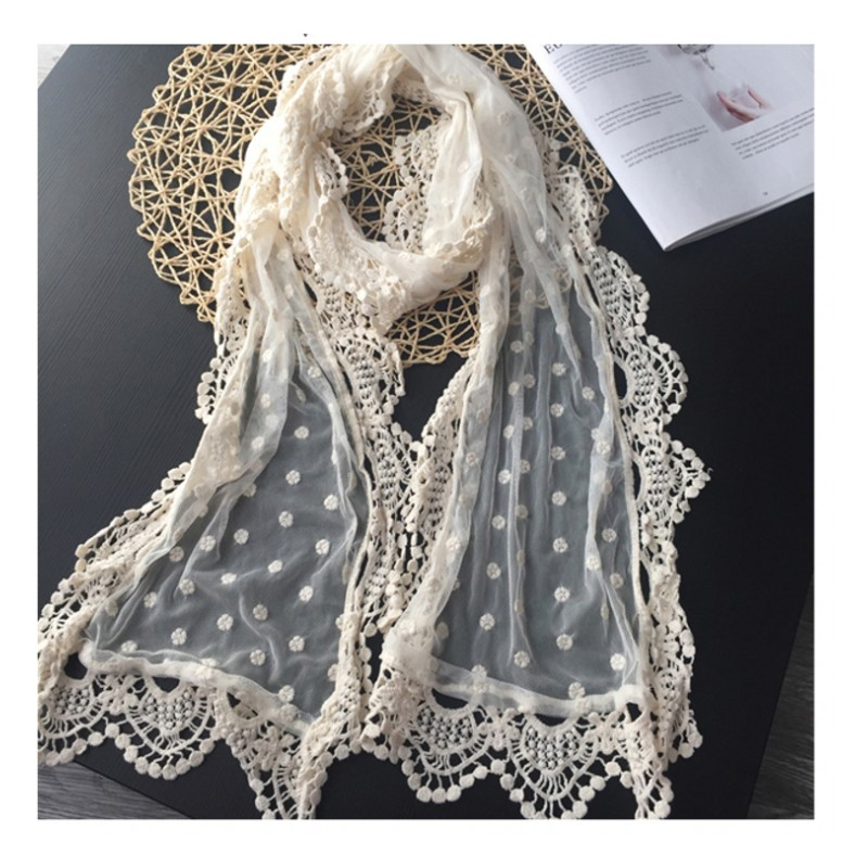 Surface Floral Poka Dots Handmade  Embroidery Lace  Sweet Travelling Photo Scarf