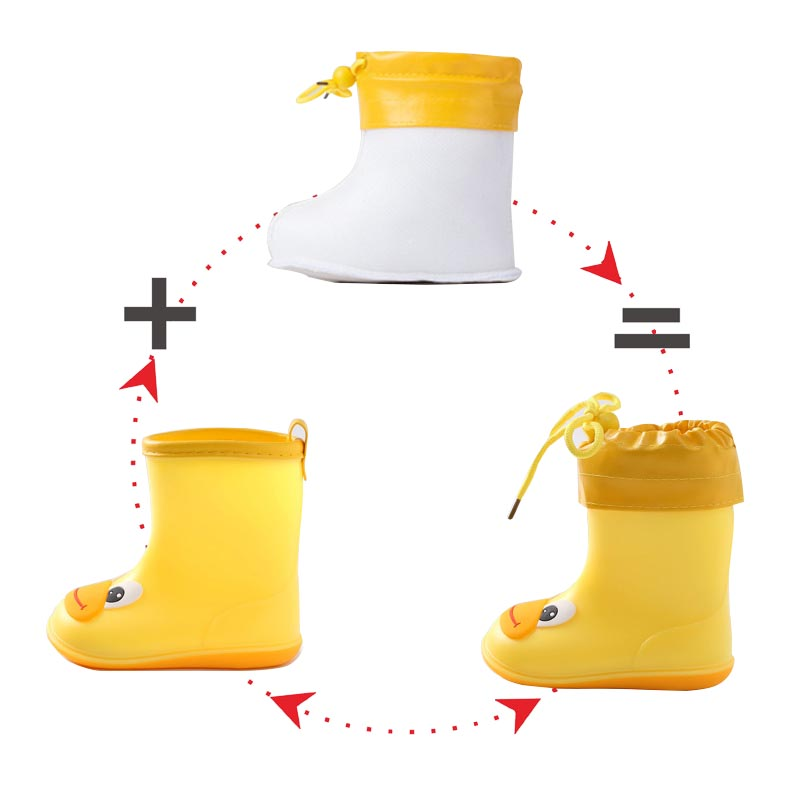 Rain Boots Kids For Boys Girls Cute Boots RainBoots Waterproof Baby Non-slip Rubber Water Shoes Children Rainboots All Seasons