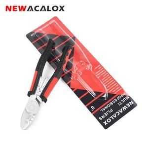 "Image 1 - NEWACALOX プロフェッショナルツール 8 ""ケーブルプライヤーワイヤーカッター圧着ツール電気技師多機能プライヤーハンドツール"
