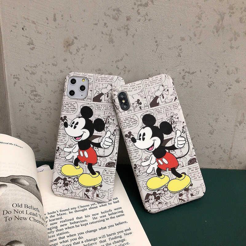 Capa para iphone 6 plus 6 s 7plus 8plus x xs xr max 11 pro capa coque bonito dos desenhos animados comic minnie mouse plástico duro