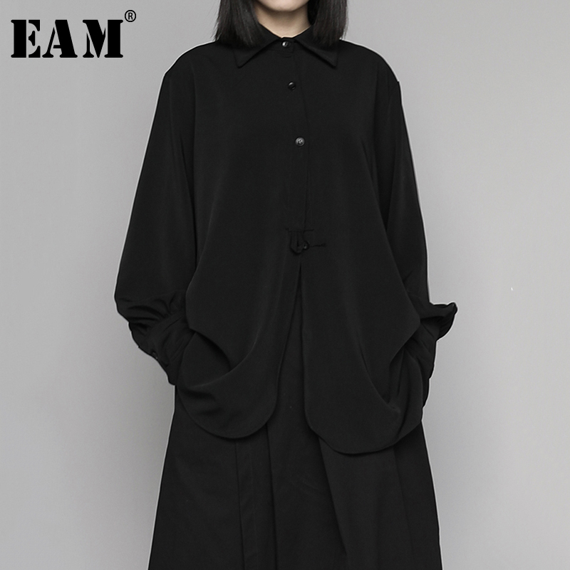 [EAM] Women Black Pleated Brief Big Size Blouse New Lapel Long Sleeve Loose Fit Shirt Fashion Tide Spring Autumn 2020 1N660