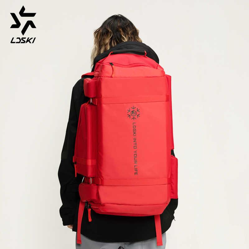 Kayak çantası Snowboard çantası kış spor seyahat çantası DWR kabuk çizme ve kask bölümler omuz askısı hafif kolay erişim depolama