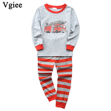 Vgiee Children Boys Girls Clothes Fall Winter Full Cotton Unisex Crtoon Pattern for Fire Truck Baby Kids Girl Set CC632
