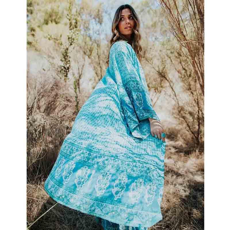 Imprimé Maxi Kimono été décontracté Turquoise Long Kimono 2019 vacances bohème Blouse ceinture attaché Top femme plage tunique Blouse chemise