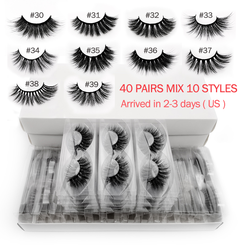 20/30/40 Pairs Mink Eyelashes Wholesale Hand Made 3d Mink Lases Mix 10 Lashes Styles Bulk Natural False Eyelashes Makeup Cilios