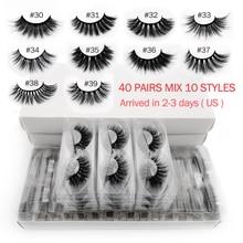 20/30/40 Pairs mink eyelashes wholesale hand made 3d mink lases mix 10 lashes styles bulk natural false eyelashes makeup cilios