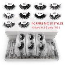 Faux cils 3d en vison, fait à la main, styles mixtes, en vrac, 10 paires, naturel, maquillage, vente en gros