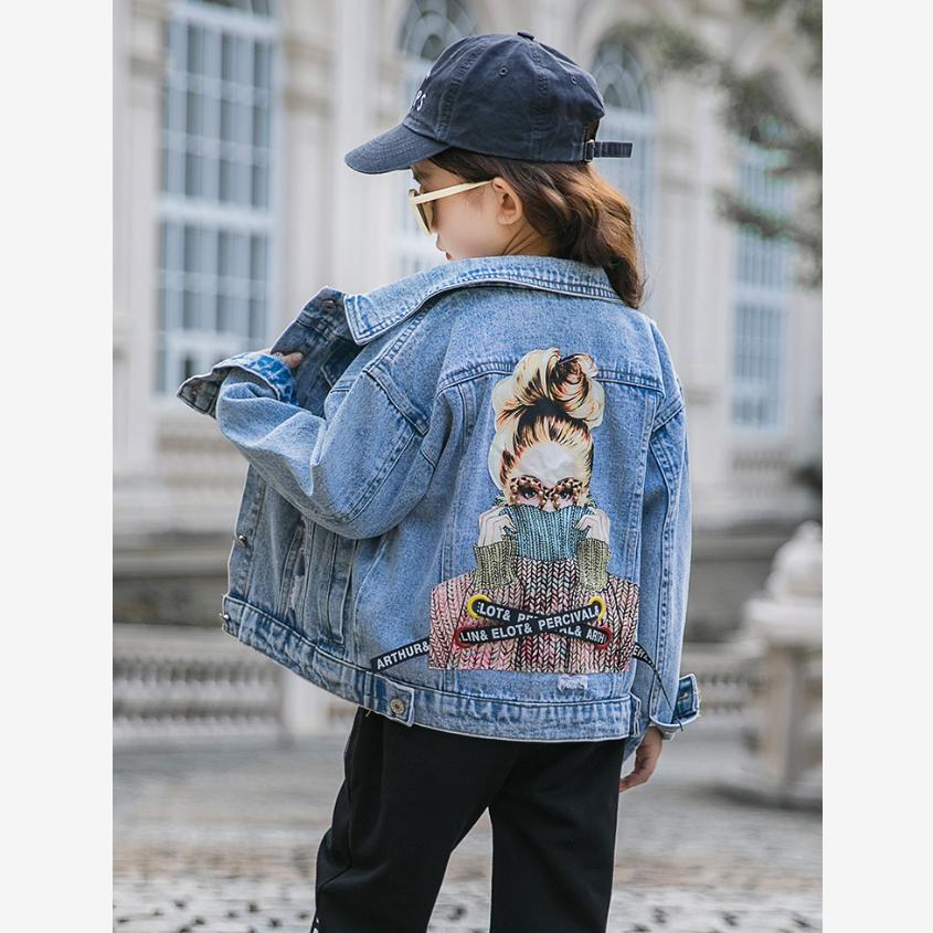 Children's BF Denim Jacket Fashion Harajuku Graffiti Patch Designs Loose Jean Coat Female Modis Kids Clothes Outerwear Y1861