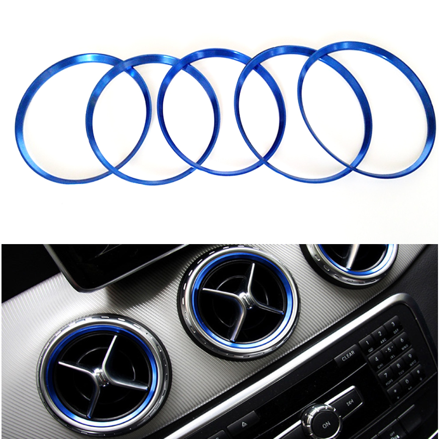 Yubao 5PCS Blue Car Air Vent Outlet Ring Cover Trim Decoration For <font><b>Mercedes</b></font> Benz <font><b>A</b></font>/B/CLA/GLA Class <font><b>180</b></font> 200 220 Car Styling image