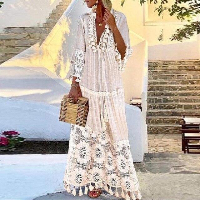 Women Sexy Deep V-Neck Lace Patchwork Party Long Dress Summer Fashion Vintage Tassel Design A-Line Dress Female Casual Dress 4XL 6