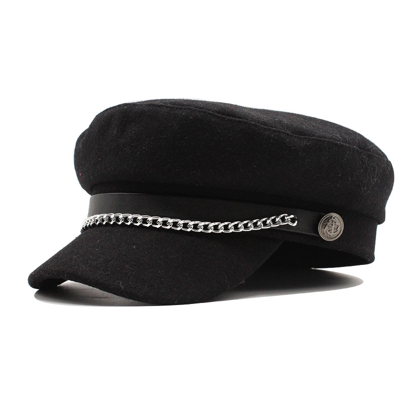 Autumn Winter Chain Wool Military Berets For Women Female Flat Army Cap Salior Hat Black Girl Ladies Travel Berets Painters Cap