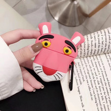 For AirPod 2 Case 3D Cute Pink Panther Cartoon Soft Silicone Wireless Earphone Cases Apple Airpods Cover Funda