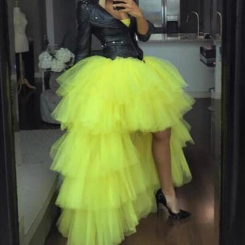 Fashion Hi Low Puffy Tutu Long Skirts Women High Waist Lush Tiered Tulle Ruffle Formal Party Skirt Custom Made Any Color Free