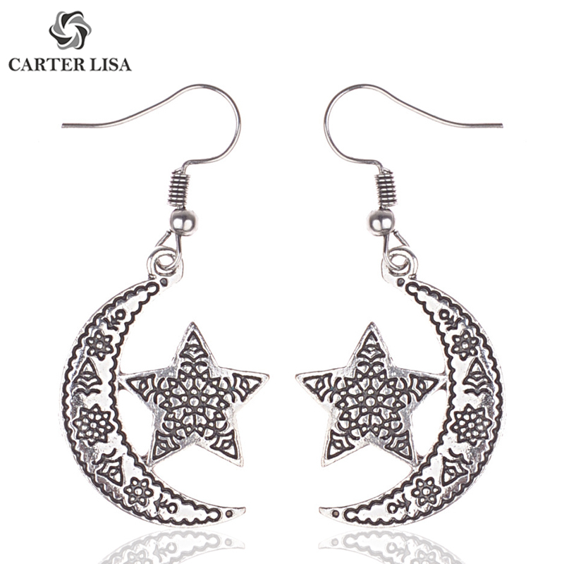 CARTER LISA Charm Antique Moon With Star Silver Dangle Earrings For Women Ethnic Vintage Boho Jewelry Gifts Present Pendientes