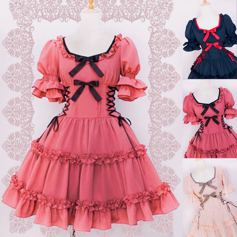 <font><b>Women</b></font> Cosplay Cloth Lolita Angel Pink Cotton Princess Dress Plus Size Gothic <font><b>Loli</b></font> Dress <font><b>Costume</b></font> Cute Anime Maid Layer Dress Girl image