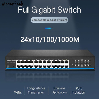 xinray brand new 8 port poe switch 10 100m ieee802 3 max distance 150m for ip camera security nvr system 2 rj45 lan port 24 Port RJ45 Lan switch Ethernet switch Gigbit switch with 24 RJ45 Port gigabit switch for ip camera ap wireless