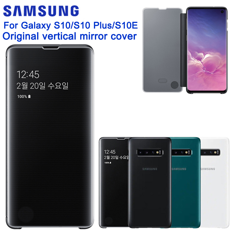 <font><b>Samsung</b></font> Original Mirror Clear S-View <font><b>Flip</b></font> Case For <font><b>Samsung</b></font> Galaxy <font><b>S10</b></font> X SM-G9730 <font><b>S10</b></font>+ <font><b>S10</b></font> Plus SM-G9750 S10E SM-G9700 <font><b>Flip</b></font> <font><b>Cover</b></font> image