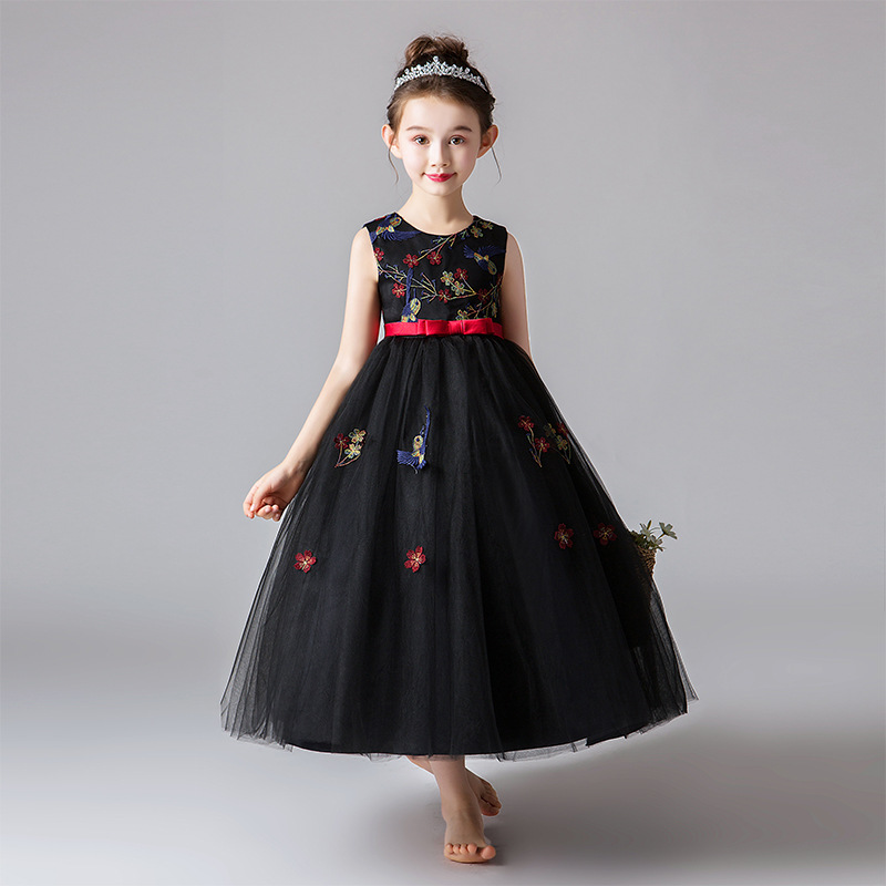 Girl'S Gown Long Europe And America British-Style Black Embroidery Gauze Skirt CHILDREN'S Performance Wear Summer Vest