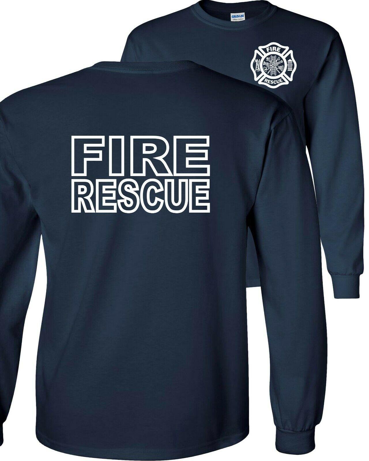 T Shirt Fire Rescue Firefighter Long Sleeve Men T-Shirt  Hip Hop  Cotton  Funny T Shirts