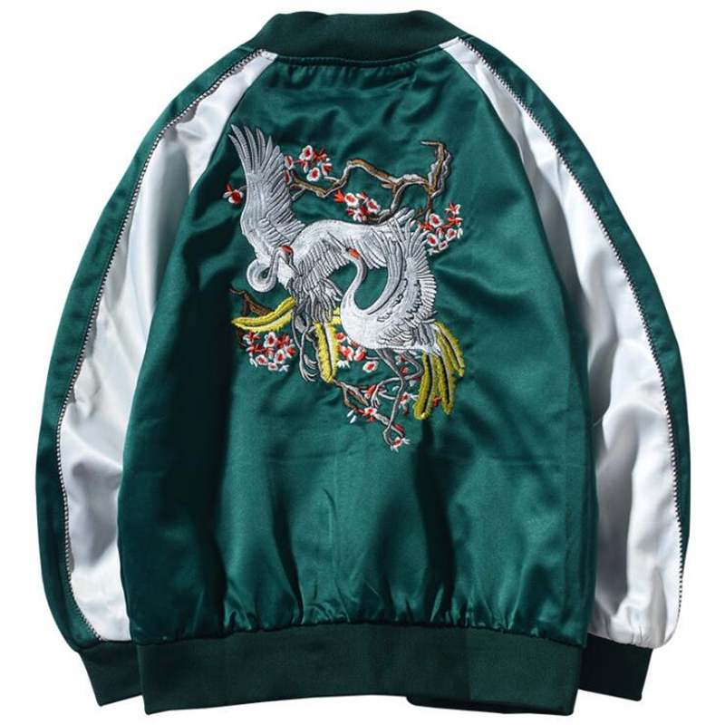 New 2020 Spring Autumn Japanese Yokosuka Dragon Embroidered Jackets Harajuku Style Men And Women Short Baseball Jacket Outwear