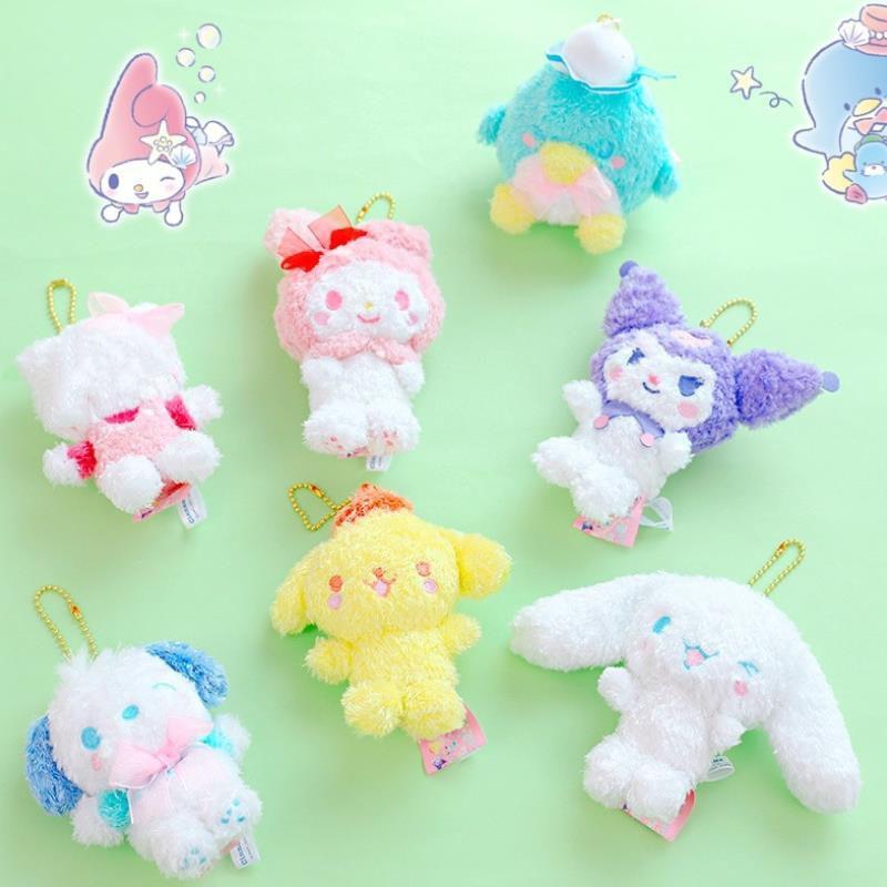 1pc Cartoon Sanrio Series Pudding Cinnamoroll Dog Pc Dog Plush Doll Lovely Melody Kuromi Bag Pendant Plush Toys Kids Girl Gift