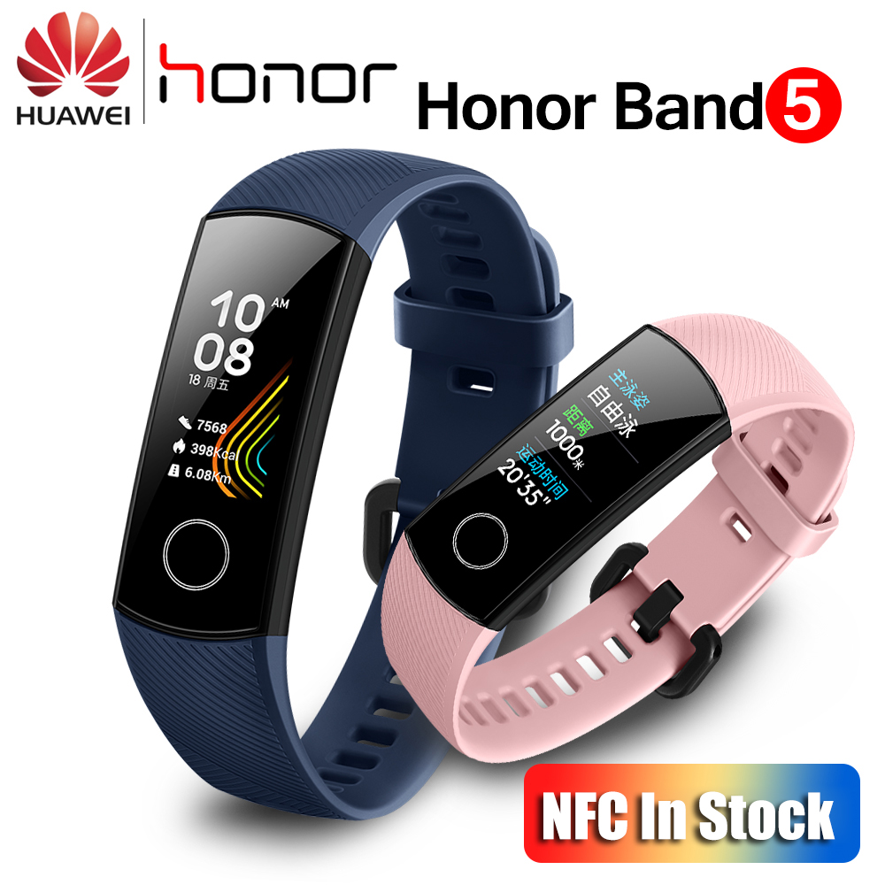 Huawei Honor Band 5 With NFC Smart Band Oximeter Color Screen Swim Stroke Detect Heart Rate Sleep Monitor Honor Band 5 Blue Pink image