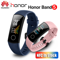 Huawei Honor Band 5 With NFC Smart Band Oximeter Color Screen Swim Stroke Detect Heart Rate Sleep Monitor Honor Band 5 Blue Pink