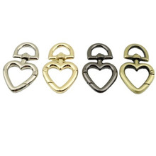 Bag Accessories Metal Alloy Heart Shaped Spring Ring Buckle For DIY Bag Shoulder Belt Buckle Push Trigger Snap Hooks Carabiner