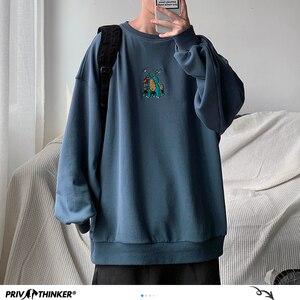 Image 1 - Privatithinker masculino outono dinossauro bordado pullovers sweatshirts dos homens 3 cores o pescoço hoodies moda masculina camisola coreana
