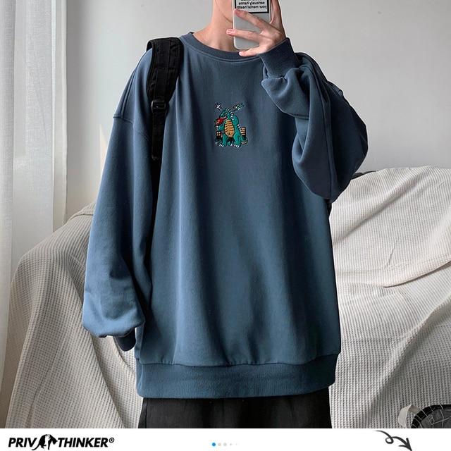 Privatithinker masculino outono dinossauro bordado pullovers sweatshirts dos homens 3 cores o pescoço hoodies moda masculina camisola coreana