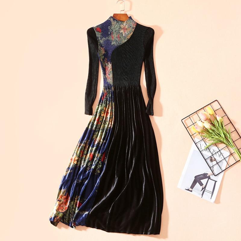 VERDEJULIAY robes de velours de piste femmes 2020 automne hiver Vintage à manches longues imprimé Floral Patchwork longue robe plissée Vestidos