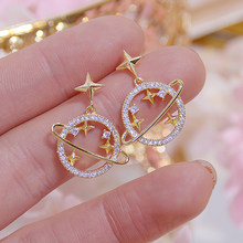 Korean New Arrive Hollow Moon Star Women CZ Earrings High Quality 14K Real Gold Stud Earring Wedding Jewelry Pendant Accessories