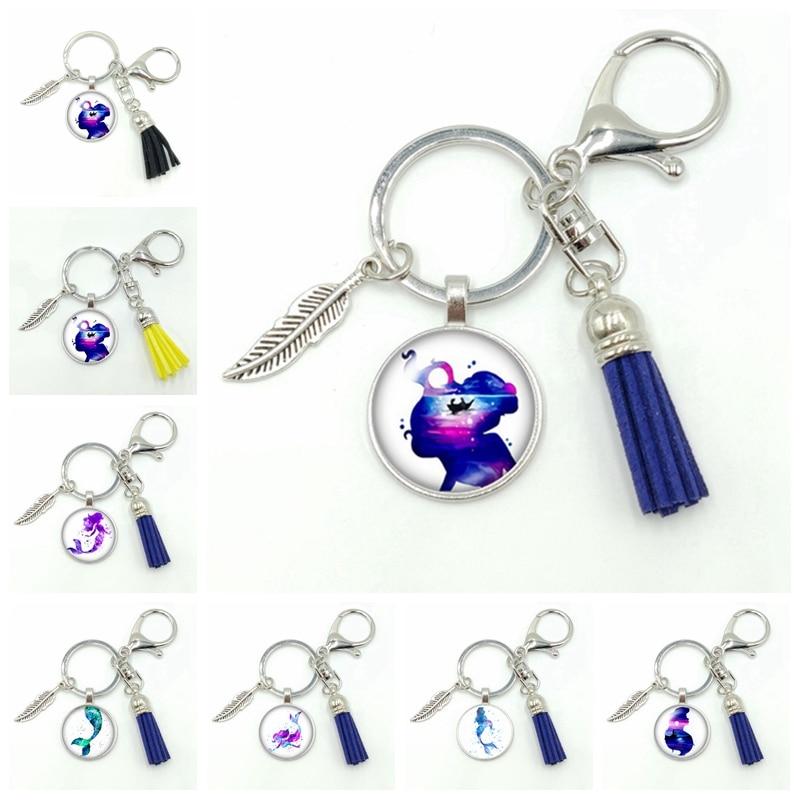2019 New Hot Sale Mermaid Series Glass Beveled Fringe Fashion Keychain Pendant Jewelry Gift