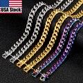 10mm ширина панк нержавеющая сталь цепь на шею мужская женская крупная Ожерелье Золотой цепь