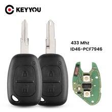 Keyyou para renault mestre de tráfego vivaro movano kangoo remoto chave fob 2 botões 433mhz id46 chip transmister ne73 vac102 lâmina