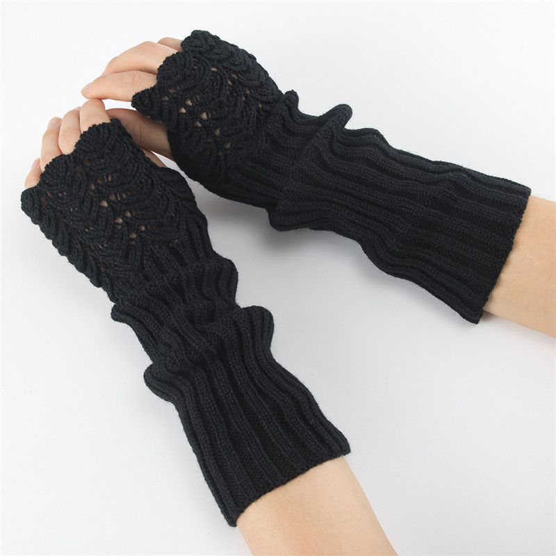 Winter Warm Gloves Women Adult Fashion Knitted Hollow Fingerless Soft Solid Color Mittens Female Long Glove Gants Femme