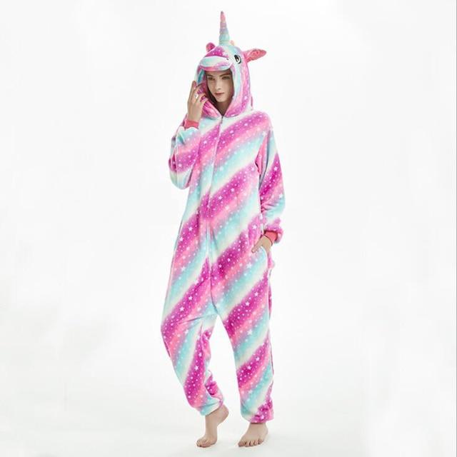 여성 유니콘 코스프레 키 구루 미 Onesie 성인 동물 잠옷 Onesies 플란넬 따뜻한 부드러운 잠옷 Onepiece Anime Winter Jumpsuit