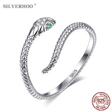SILVERHOO Snake Ring For Women S925 Sterling Silver Adjustable Rings Green Zircon Retro Fine Jewelry Pretty Textures Design