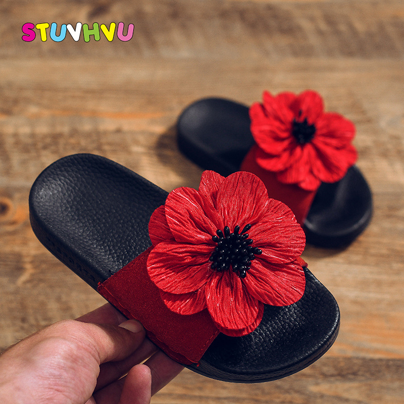 Fashion Flower Girl Shoes Children Slippers 2020 Summer New Non-slip Soft Leather Kids Sandals For Girls Slippers Princess Shoes